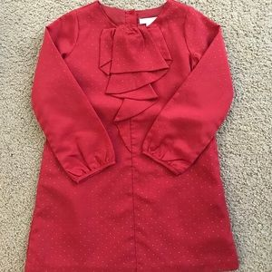 Janie & Jack red satin dress with gold dots. 5